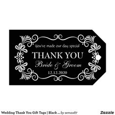 Wedding Thank You Gift Tags | Black White Swirls Wedding Thank You Gifts, Wedding Gift Tags, Party Favor Tags, Holiday Gift Tags, Christmas Gift Wrapping, Valentine Gifts, Wish Gifts, Merry Christmas Wishes, Custom Ribbon