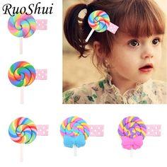 99cd08000d7 Cartoon Lollipop Candy Hair Clips Child Barrette