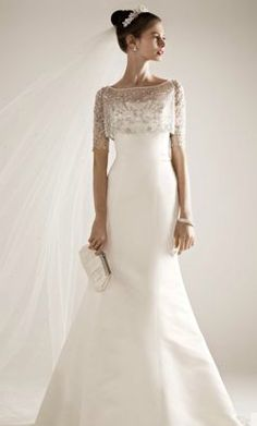 Oleg Cassini  Satin Gown with Beaded Pop Over Jacket