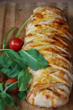 Receta paso a paso con fotos de Pizza Trenzada Rellena con Verdura - Receta Vegetariana