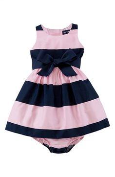 Ralph Lauren Sleeveless Stripe Sateen Dress (Baby Girls) available at #Nordstrom