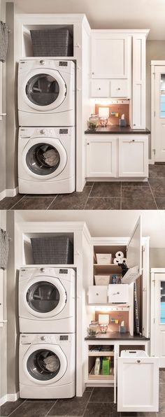 6' Utility Room Package in Glacier White with stacked washer and dryer . . . wow! Now all it needs is a set of hampers on the opposite wall for each family member...(a sink would be nice too)