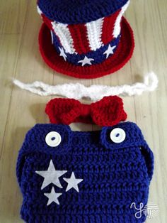 Uncle Sammy Set Patriotic Hat and Diaper Cover
