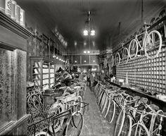 "Detroit, Michigan, circa 1912. ""Metzger bicycle shop. Detroit City Gas Co."""