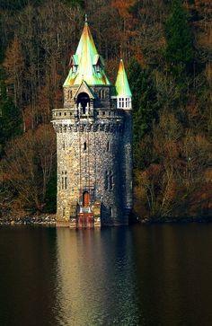 The Straining Tower, Lake Llanwddyn, Wales
