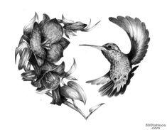 Realistic Hummingbird Heart Tattoo Design - Hummingbird tattoos mostly represent overcoming a difficult situation. Mom Tattoos, Trendy Tattoos, Unique Tattoos, Cute Tattoos, Beautiful Tattoos, Body Art Tattoos, Sleeve Tattoos, Heart Tattoos, Rosary Tattoos