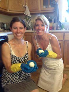 Making homemade mozzarella with Kelly