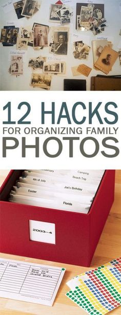 12 Hacks for Organizing Family Photos - 101 Days of Organization #scrapbooking101