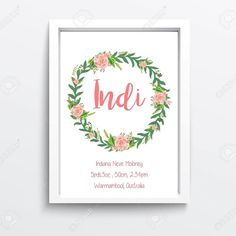 Wreath Birth Print Online Now - Free Postage http://ift.tt/1QWA6UP by since85designs