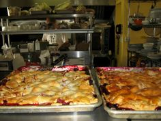 """Delicious housemade desserts such as """"slab pies"""" (one recent day, a choice of apple-raspberry or peach-blueberry) at Blueberry Hill Market & Café in New Lebanon, NY. Read more at RuralIntelligence.com"""
