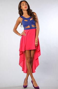 The Bandage Dress in Blue and Magenta by Reverse