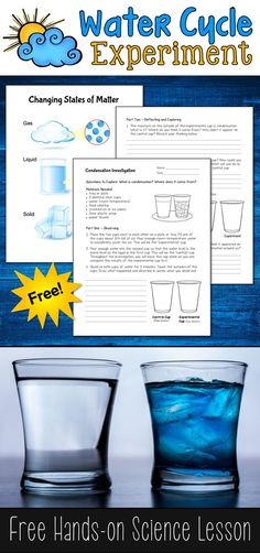 What is condensation and where does it come from? This free Condensation Investigation water cycle experiment is a great way for kids to answer those questions and learn about the water cycle! cycle Investigating Condensation and the Water Cycle Weather Experiments, Science Fair Projects, Science Experiments Kids, Science Lessons, Science For Kids, Earth Science, Science Activities, Water Cycle Experiments, Science Ideas