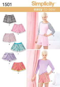 Simplicity Creative Group - Misses' Lounge Shorts and Raglan Knit Top 1501
