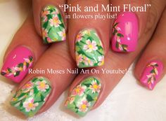 Pink and Mint Flower Nail Art
