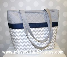 XL Gray Chevron Quilted Purse / Tote / Diaper Bag by MsSewItAll32