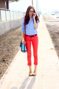 blue/denim shirt with coral pants