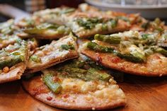 Asparagus Flat Bread Pizza  We had this at a neighbor's home and it was wonderful.