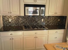 Kitchen, Eminent Glass Mosaic Tiles For Nice Welcoming Kitchen: Chic Paloma Gradient Glass Tile Backsplash Installation In White Coated Oak Kitchen