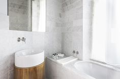 Bathroom and custom sink in the Senato Hotel Milano. Design by Alessandro Bianchi.