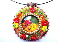 Beaded Multicolor Pendant Bead Embroidered Ladybug Glass Cabochon Necklace Brilliant Colors Jewelry Glass Flower OOAK Pendant Ready to ship
