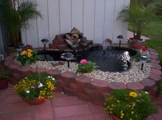 Backyard garden pond waterfall fountain water feature This is the one Small Backyard Ponds, Backyard Sitting Areas, Outdoor Ponds, Backyard Water Feature, Small Ponds, Small Patio, Outdoor Waterfalls, Backyard Ideas, Outdoor Fountains