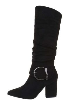 Dámske čierne špicaté semišové čižmy s hrubým opätkom a striebornou prackou na boku. Knee Boots, Wedges, Shoes, Fashion, Moda, Zapatos, Shoes Outlet, Wedge, Fasion