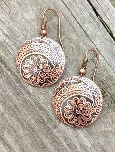 Copper etched earrings, small dangle earrings, copper jewelry, nature jewelry