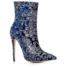 Blue 34 Fall Winter Fashion Boots Stiletto Heel Pointed Toe Bootie ($41) ❤ liked on Polyvore featuring shoes, boots, ankle booties, ankle boots, stiletto bootie, blue ankle boots, bootie boots and short boots