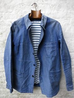 loose light blue french workman's jacket over french meridian navy blue stripe shirt