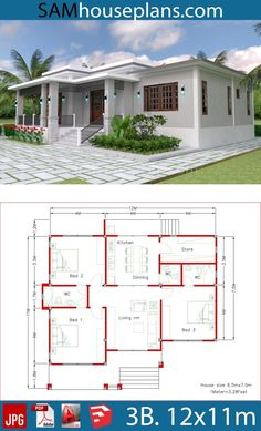 House Plans with 3 Bedrooms - Sam House Plans. , House Plans with 3 Bedrooms Modern House Floor Plans, 3d House Plans, Model House Plan, House Layout Plans, Duplex House Plans, Bungalow House Plans, Dream House Plans, Small Floor Plans, Flat Roof House Designs