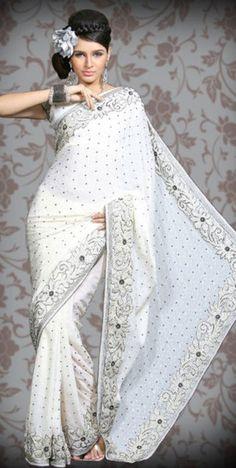 white saree punjabi-wedding