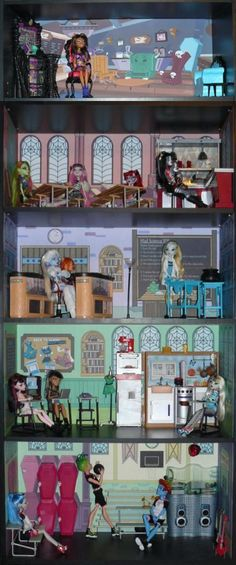 Monster High School Doll House Bookcase Kit - Mad Science, Home Ick, Playset