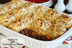 Beef Pot Pie with Cheddar-Onion Biscuits - melissassouthernstylekitchen.com