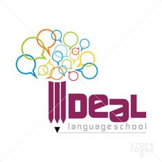 ideal language school logo , use of speech bubbles but dont like the I