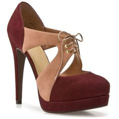 Levity Thelma Pump - Burgundy/Pink ($35) ❤ liked on Polyvore featuring shoes, pumps, heels, boots, sapatos, burgundy pumps, block-heel pumps, burgundy shoes, high heel platform pumps and pink high heel pumps