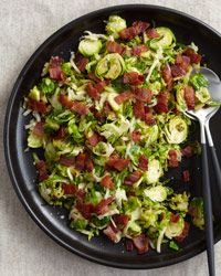 Warm Brussels Sprout Slaw with Bacon. Makes 10 servings. On MRC menus use 6 slices bacon and 4 TBSP butter. Replaces 1 fat, 1/2 vegetable, and 1/2 carb per serving.