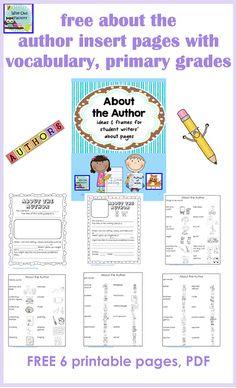 """Students add """"About the Author"""" information to books they write.  How motivating! (Free)"""