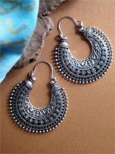 Ethnic Tribal Hoop Earrings in Antiqued Metal