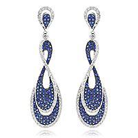 Blue Sapphire Diamond Ladies Infinity Earrings by Luxurman 4ct 14K Gold♥•♥•♥