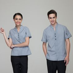 Fashion Restaurant Hotel Uniform Women Female Waitress Blouse Men Male Waiter Shirt Short Sleeve Hidden Placket Solid Color-in Chef Jackets from Novelty & Special Use on Aliexpress.com   Alibaba Group