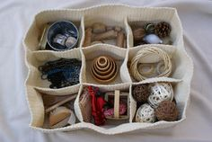 How to use the Ikea Komplement compartment storage for a discovery basket. This would be great for part of a living/nonliving unit. Reggio Classroom, Classroom Organisation, Classroom Displays, Classroom Layout, Organisation Ideas, Classroom Ideas, Infant Activities, Activities For Kids, Heuristic Play