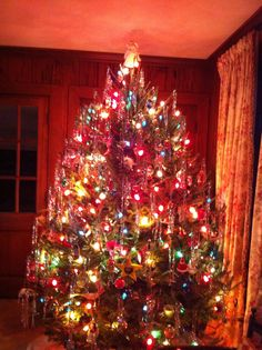 our tree was always loaded down with tinsel and garlandold fashioned christmas tree