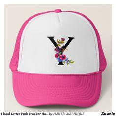Floral Letter Pink Trucker Hat Wedding - Urban Hunter Fisher Farmer Redneck Hats By Talented Fashion And Graphic Designers - Sun Visor Hat, Visor Hats, Trendy Fashion, Mens Fashion, Floral Letters, Trucker Hats, Custom Hats, Graphic Designers, Ideas Para