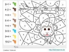 Malen nach Zahlen Vorlagen für Kindergarten-Kinder  Mit der Malen nach Zahlen Methode kann jedes Kind schöne Bilder malen, indem alle mit Zahlen markierten Flächen mit Farben der gleichen Zahl ausgemalt werden.