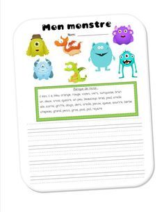 Mon monstre / My monster — Each student chooses his/her favorite monster and writes a descriptive paragraph using a word bank. French Education, Education And Literacy, Writing Activities, Classroom Activities, Teaching French Immersion, French Teaching Resources, Teaching Ideas, French Worksheets, Core French