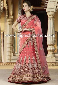 Peach Silk And Velvet Lehenga Choli
