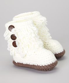 Love these! Look what I found on #zulily! Cream Knit Bootie #zulilyfinds