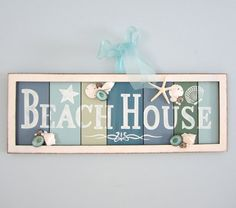"Beach Decor ""BEACH HOUSE"" Sign - Nautical Watercolor Hanging Coastal Sign"