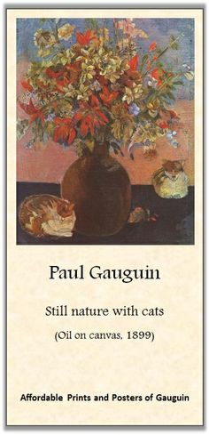Paul Gauguin, Still nature with cats | Inexpensive Prints & Posters of Gauguin