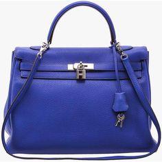 Pre-owned Hermes Royal Blue Retourne Kelly 35cm ($16,400) ❤ liked on Polyvore featuring bags, handbags, blue, preowned handbags, hermès, hermes bag, hermes purse and hermes handbags